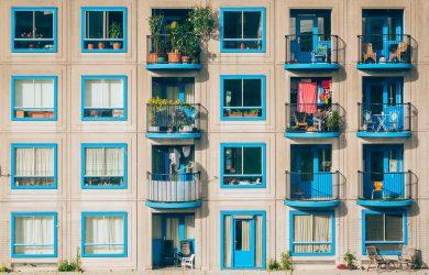 green apartment buildings