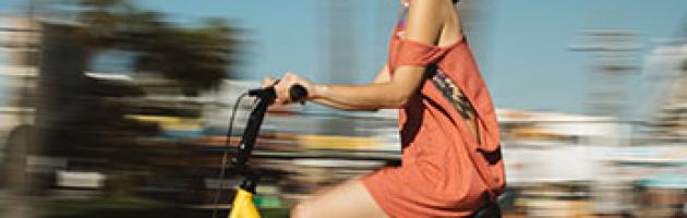 women on bike exercising